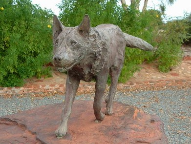Red Dog Statue Picture Front view - ABL